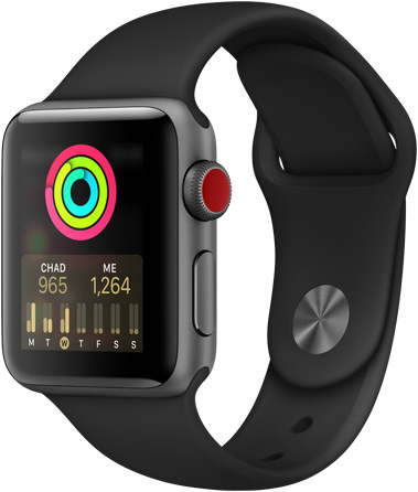 Apple Watch Series 3 in black, facing to the left with the user-comparison activity chart
