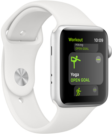 Apple Watch Series 3 in white facing to the right with the workout app open showing yoga and hiking windows
