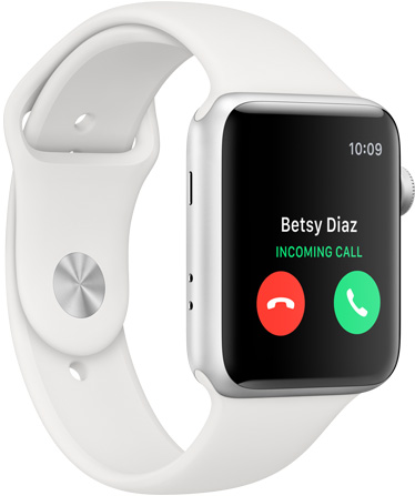 Apple Watch Series 3 in white facing to the right showing an incoming call from Betsy Diaz