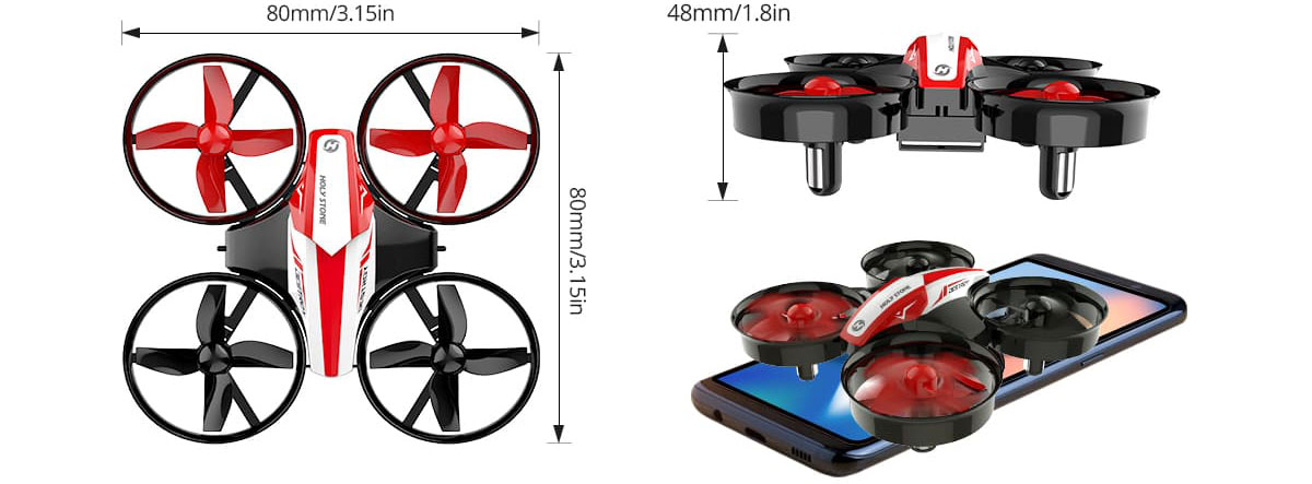 Top and side views of the quadcopter, with its dimension measured. At the bottom right is a size comparison between this quadcopter and a phone