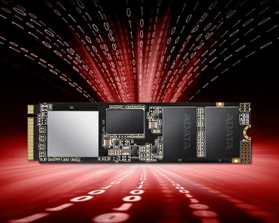 The XPG SX8200 Pro SSD facing forward with a red expanse graphic behind it