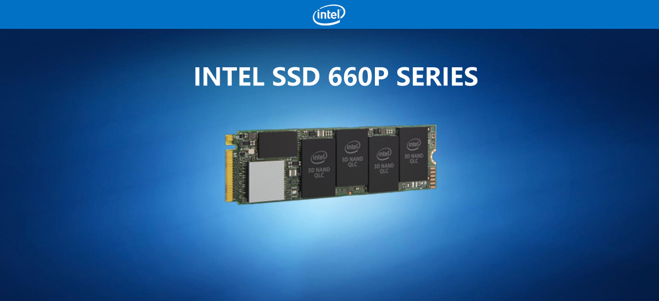 Intel SSD 660p Sereis Banner showing the m.2 memory facing slightly to the right on a blue background with the intel logo above