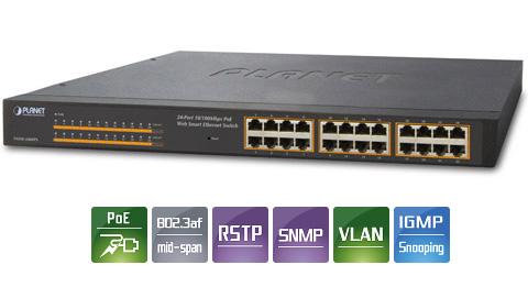 PLANET FNSW-2400PS 24-Port 10/100Mbps PoE Web Smart Ethernet Switch -  Newegg com