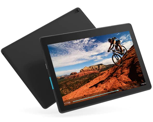 Lenovo Tab E10 tablet angled to right playing a video where a man riding the bike going down the mountain