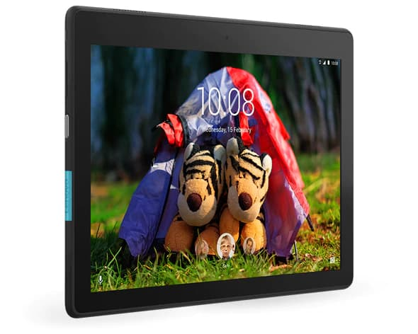 Lenovo Tab E10 tablet angled to right showing a pictuer of two tiger dolls in a tent