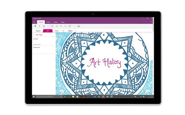 Surface Pro 4 works as a tablet showing OneNote interface