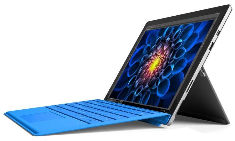 Surface Pro 4 with Typer Cover keyboard angled to left