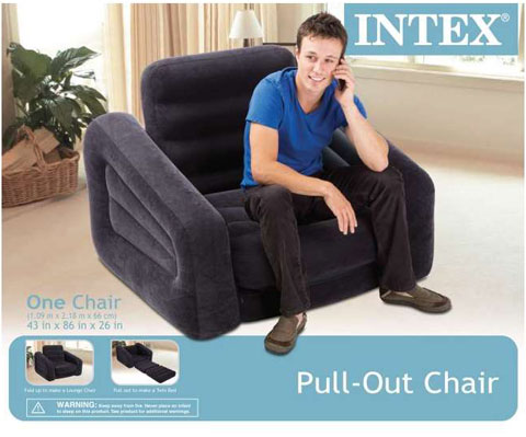 detailed view and application  sc 1 st  Newegg.com & INTEX Inflatable Pull-Out Chair u0026 Twin Bed Mattress Sleeper | 68565E ...