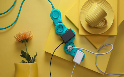 Quirky Flexible 6 Outlets Power Strip Extension Cord With Surge Protector Pink