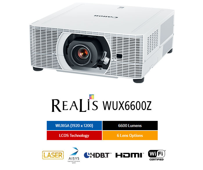 Canon WUX6600Z Projector Angled Down to the Left Above the REALIS WUX6600Z Stylized Text and Boxed, Colored Text That Reads: WUXGA (1920x1200), 6,600 Lumens, LCOS Technology and 6 Lens Options. Also badges for LASER, AISYS, HDBT, HDMI and Wi-Fi Certified