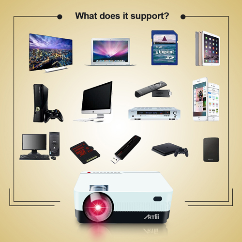 Artlii Portable Hd Home Theater Support 1080p Lcd: ARTlii HD Projector With 2800Lumens, 720P Portable Movie