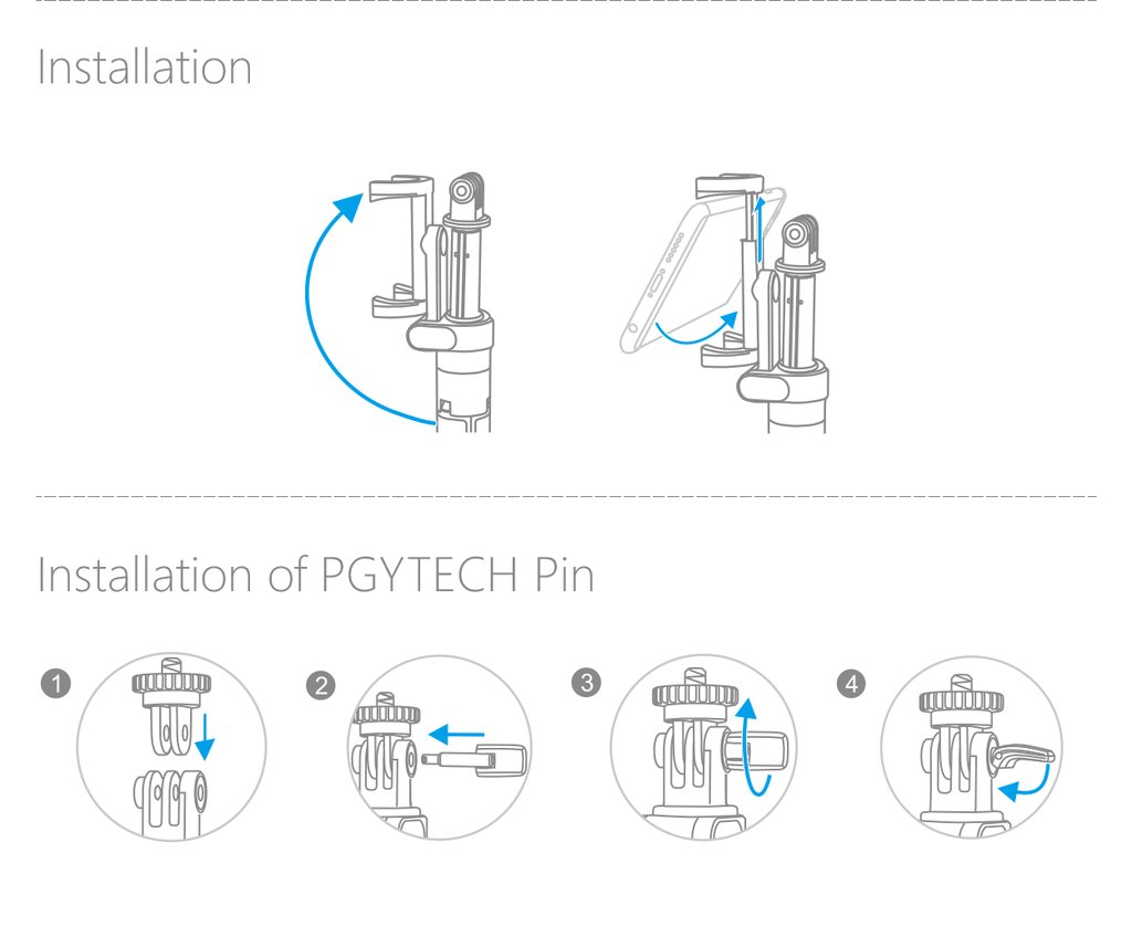 Installation guide for PGYTECH Action Camera Extension Pole Tripod Plus