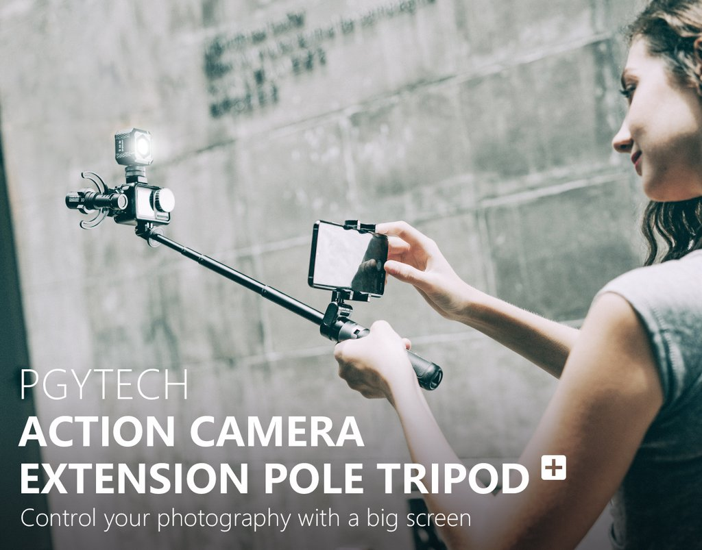 PGYTECH Action Camera Hard-shell Protective Case hung on a backpack