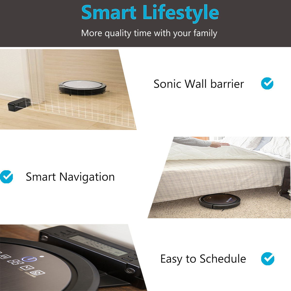 CleanMate CM3 Robot Vacuum Cleaner: Robotic Vacuum Cleaners for Carpet and Hardwood Floors