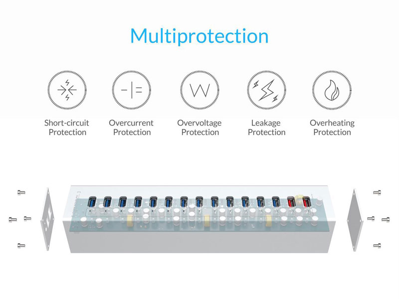 Multiprotection - short-circuit protection, overcurrent protection, overvoltage protection, leakage protection and overheating protection. Below this text is a transparent graphic of the orico hub