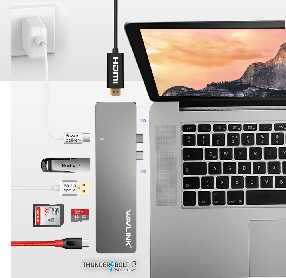 Wavlink Aluminum Thunderbolt 3 Usb C Hub Adapter For Macbook Pro Kvm 4 Ports 3usb Vga Svga Switch Box Connector Keyboard Mouse Monitor Dock