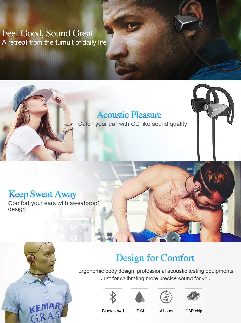 DOSS BE1 Bluetooth 4.1 Sport Earbuds Sweat-Proof Wireless Earphone