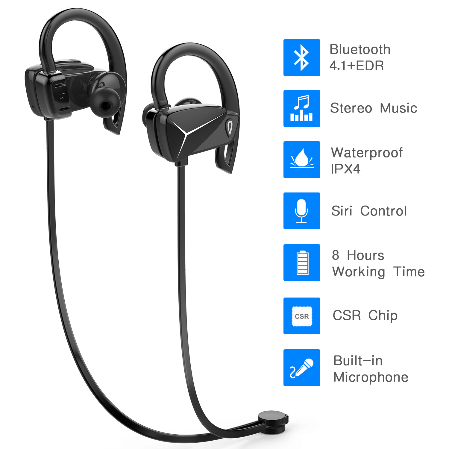 DOSS BE1 Bluetooth 4.1 Sport Earbuds Sweat-Proof Wireless Earphone