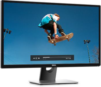 Dell monitor angled to the right showing a skateboarder flying through the air