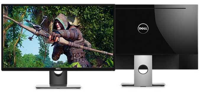 Front and back of a Dell monitor where the front image shows a video game archer readying an arrow in a forest