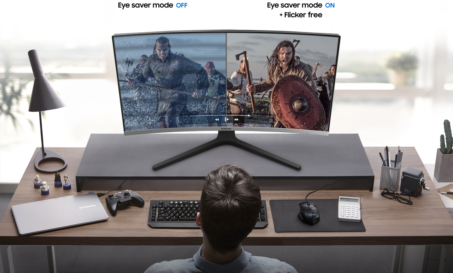 a monitor with a fighting image as screen and splited into two ,showing difference effect between eye saver mode off and on