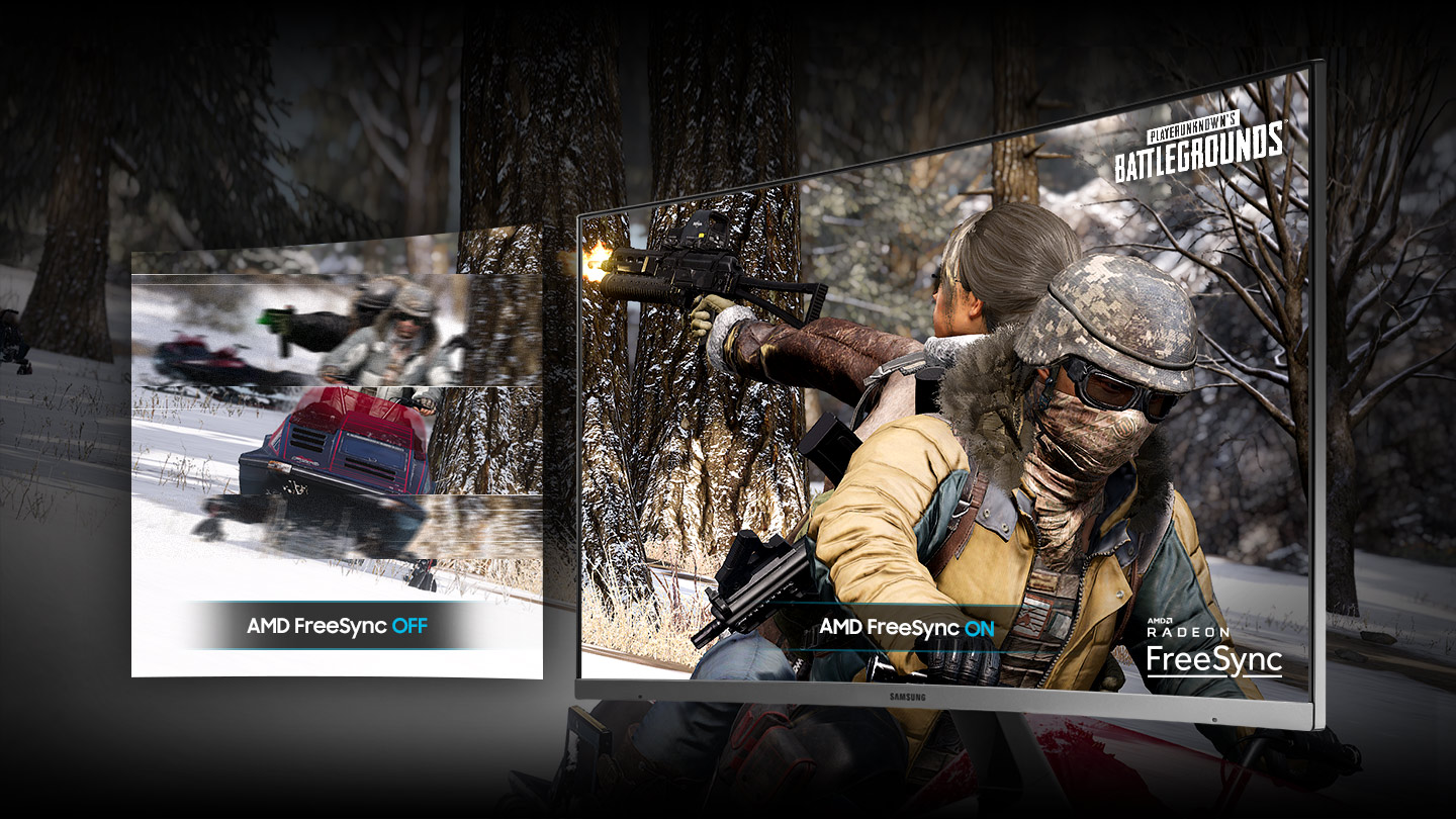 a monitor with two images,showing difference effect between AMD freesync off and on