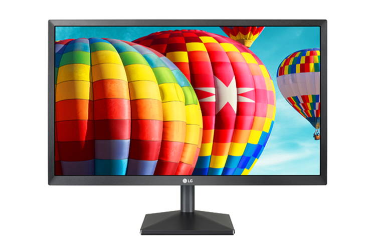 LG 24BK430H-B Monitor Facing Forward with Rainbow-Colored Air Ballons in the Sky