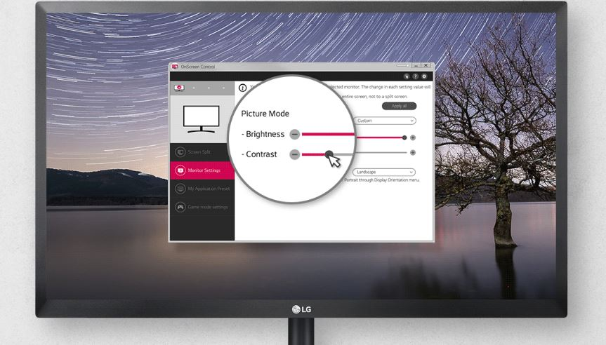 LG 24BK430H-B Monitor Facing Forward with On-Screen Control Software Window Open