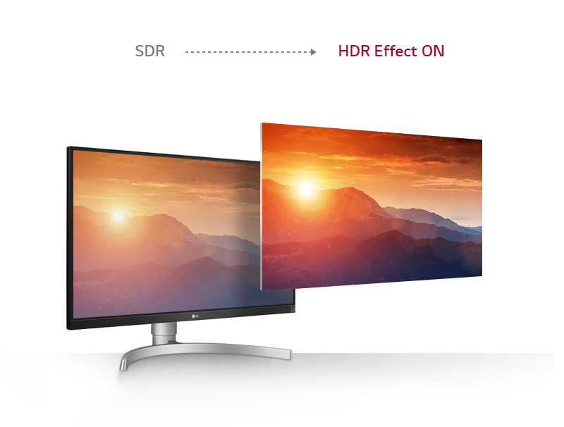 a monitor with a scenery picture showing different effect between SDR and HDR