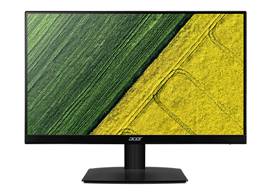 an Acer monitor with a green and yellow pattern as screen