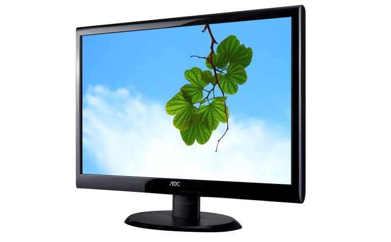 AOC E2050SWD monitor facing slightly to the left showing four-leaf clovers hanging down in front of blue sky with a white cloud