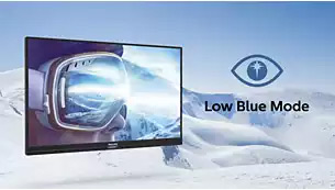 monitor in a snowy background, showing LowBlue Mode effect