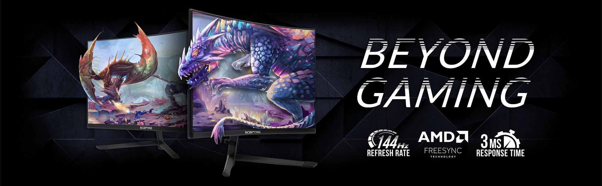 dos monitores con el dragón se derraman sobre el monitor para que te sientas más real