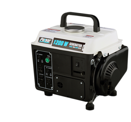 Pulsar PG1202S – 1200 Peak Watt Portable Two-Cycle gasoline generator with 72 CC engine.