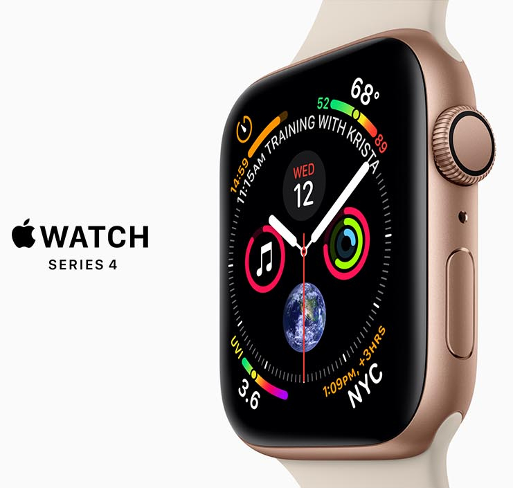 Closeup of the Apple Watch Series 4 face facing to the left with graphics for the clock calendar, temperature and other widgets