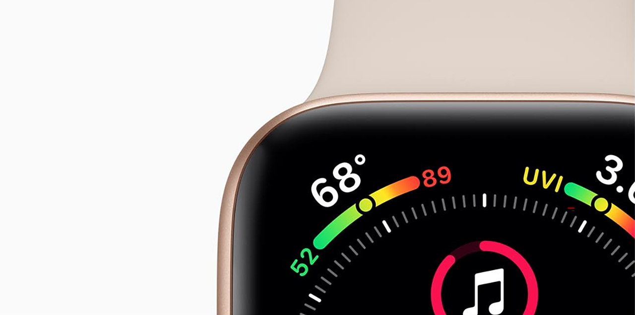 Closeup of the top of the Apple Watch Series 4 face and band