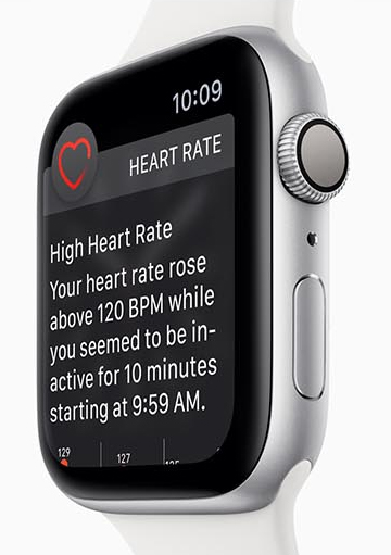 Apple Watch Series 4 facing to the left with the heart rate feature on screen