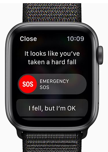 Apple Watch Series 4 facing forward with the emergency SOS feature on screen