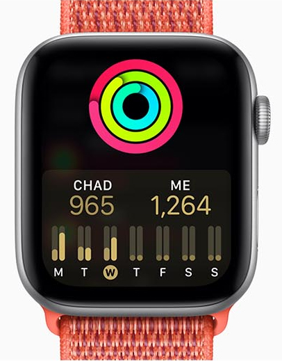 Apple Watch Series 4 with a pink band facing forward showing a user-comparison activity chart