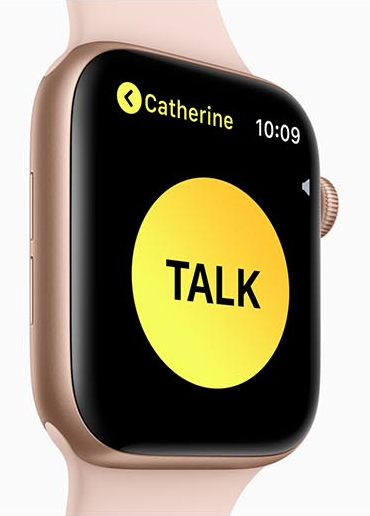 Apple Watch Series 4 facing right with a yellow circle that has text that reads TALK. The name Catherine is above the circle