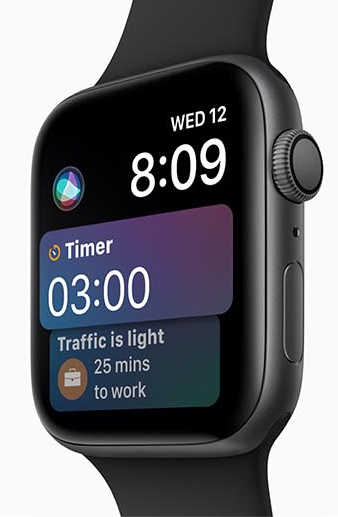 Apple Watch Series 4 facing left with a timer of 3 minutes, the time of 8:09, date of Wed 12 and a text bubble below the timer that reads: traffice is light, 25 minutes to work