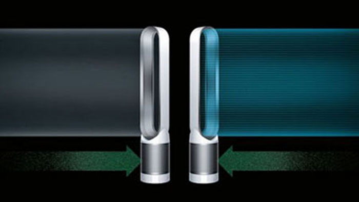 Two Dyson TP02, with the left on in purifier mode, and the right one in purifier + cooling fan mode