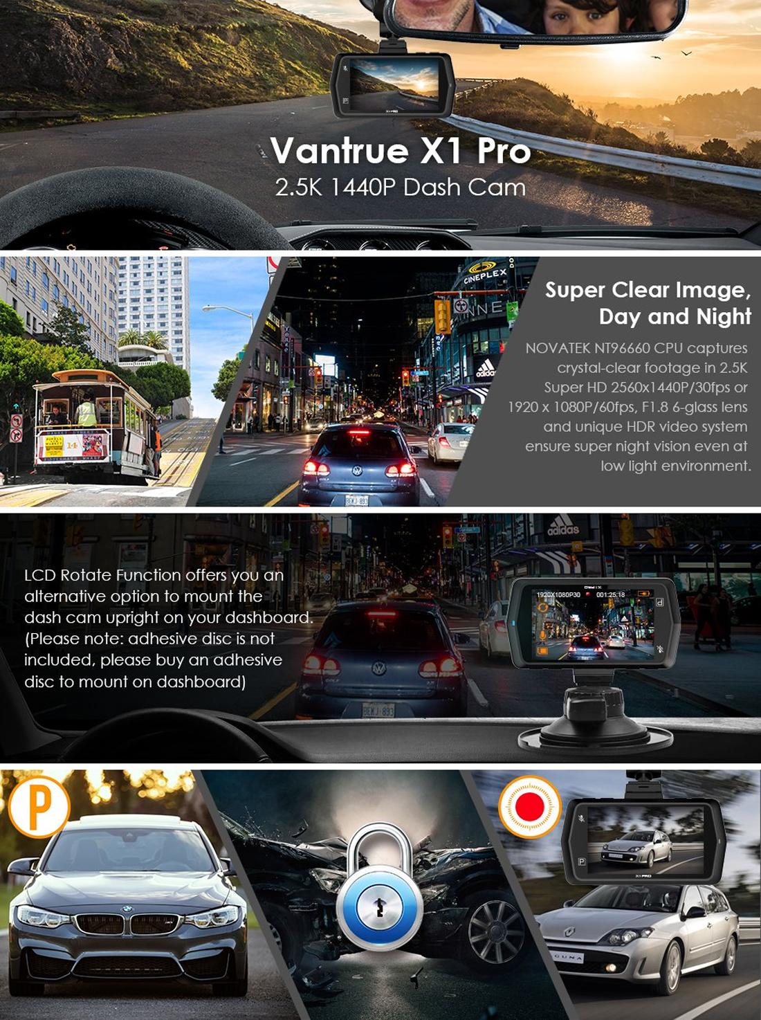 Vantrue X1 Pro 2 5K Dash Cam Super HD 1440P30 1080P60 Car Video