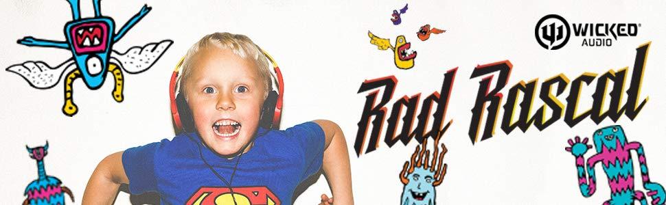 Wicked Audio Rad Rascal Wired Kid Safe Headphones