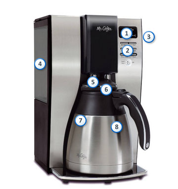 Mr. Coffee Optimal Bre 10-Cup Programmable Coffee Maker with Thermal Carafe, BVMC-PSTX91-RB ...