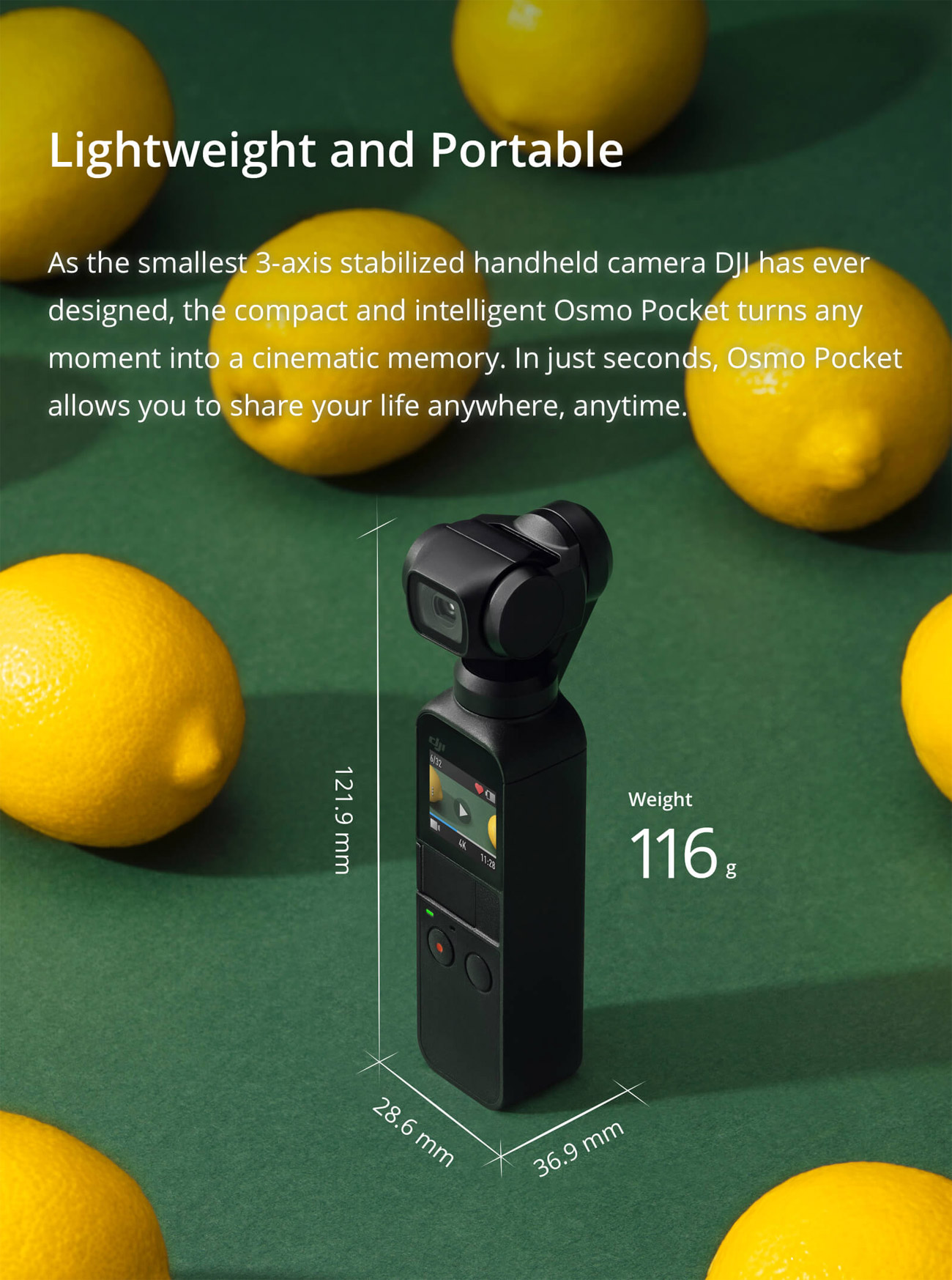 Osmo Pocket Lightweight and Portable Banner with the Product Next to Some Lemons. Text on the banner reads: Lightweight and Portable, As the smallest 3-axis stabilized handheld camera DJI has ever designed, the compact and intelligent Osmo Pocket turns any moment into a cinematic memory. In just seconds, Osmo Pocket allows you to share your life anywhere, anytime.