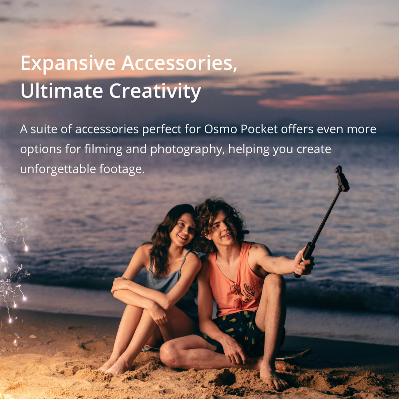 Expansive Accessories, Ultimate Creativity banner showing a boy and girl on the beach at sunset taking a selfie. The banner text reads: A suite of accessories perfect for Osmo Pocket offers even more options for filming and photography, helping you create unforgettable footage.
