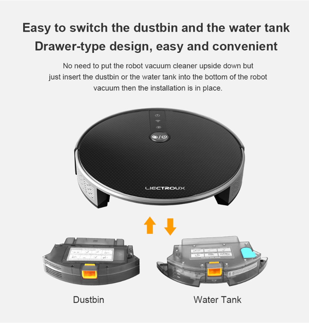 LIECTROUX C30B/E30 Robot Vacuum Cleaner 2D Map Navigation, Smart Memory,  3000Pa Suction, Map Shown on WiFi App, 0 6L Dustbin, 350ml Electric Water