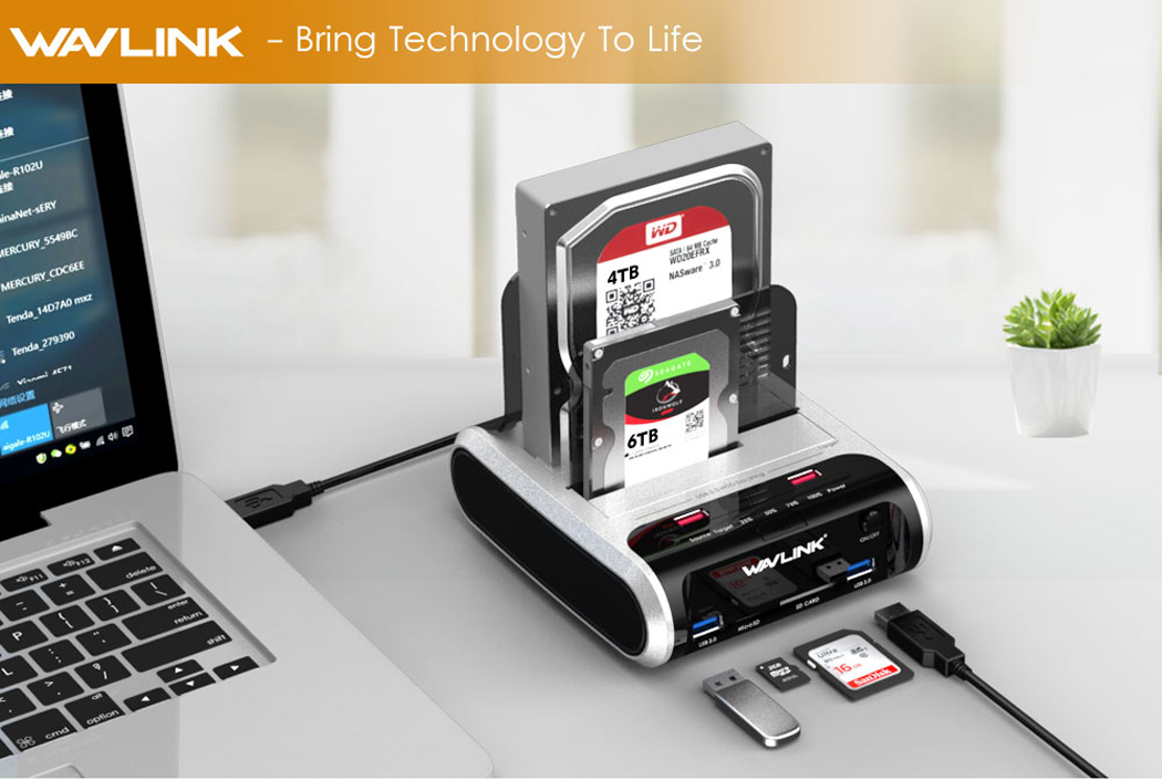 Support Fast Charger and TF & SD Card WAVLINK USB 3 0 to