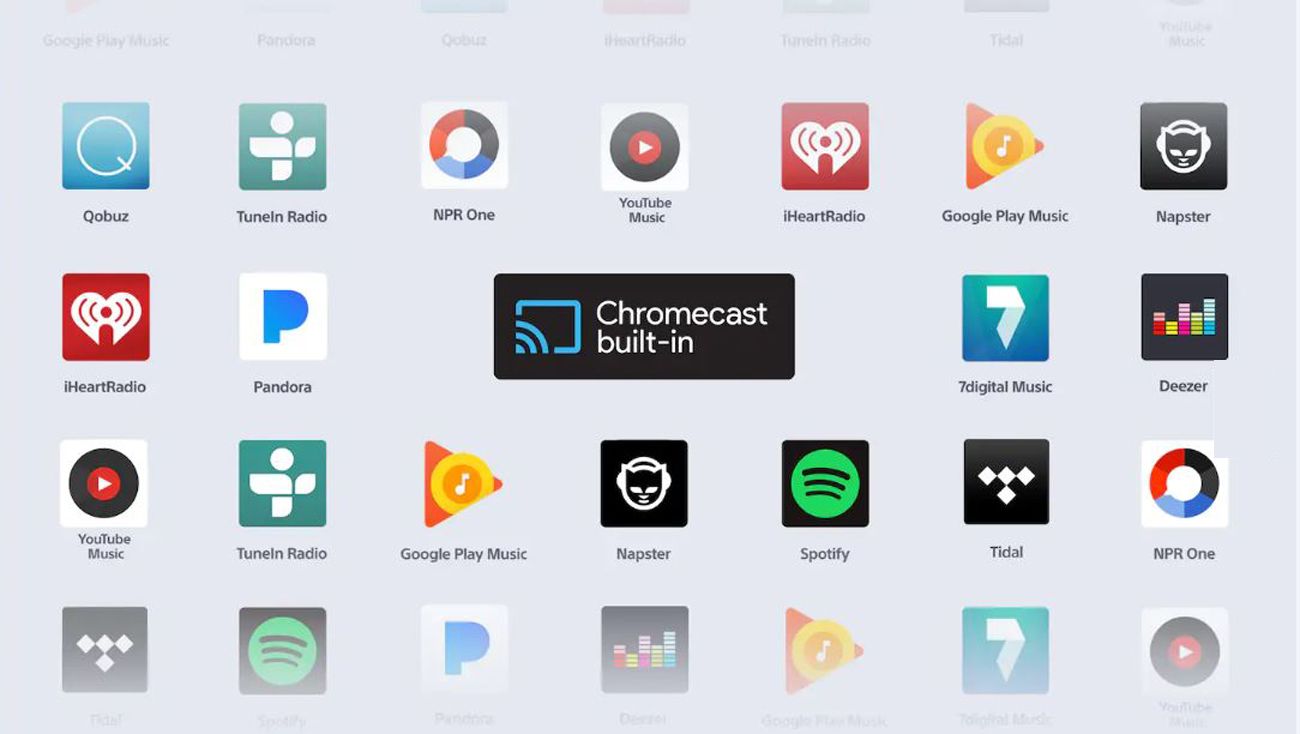 Various app logos that supports Chromecast built-in